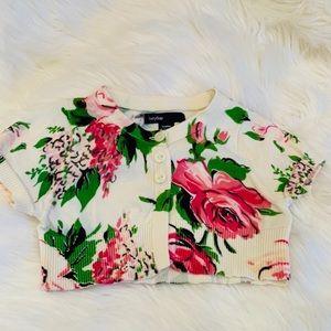 NWOT GAP floral crop cardigan